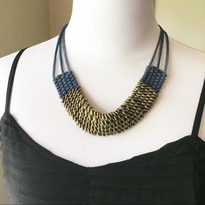 Leather Statement Necklace Navy & Gold